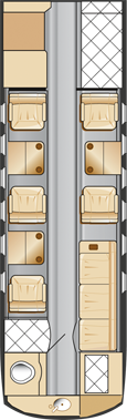 HAWKER 800XP Cabin layout | Private Jet Charter