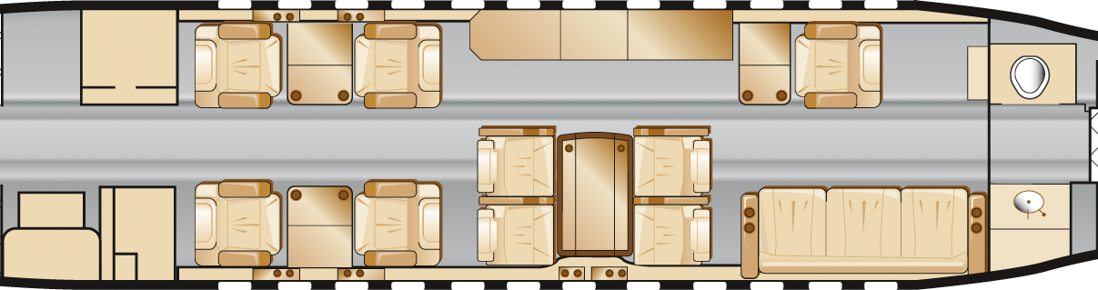 Cabin layout in aircrafts